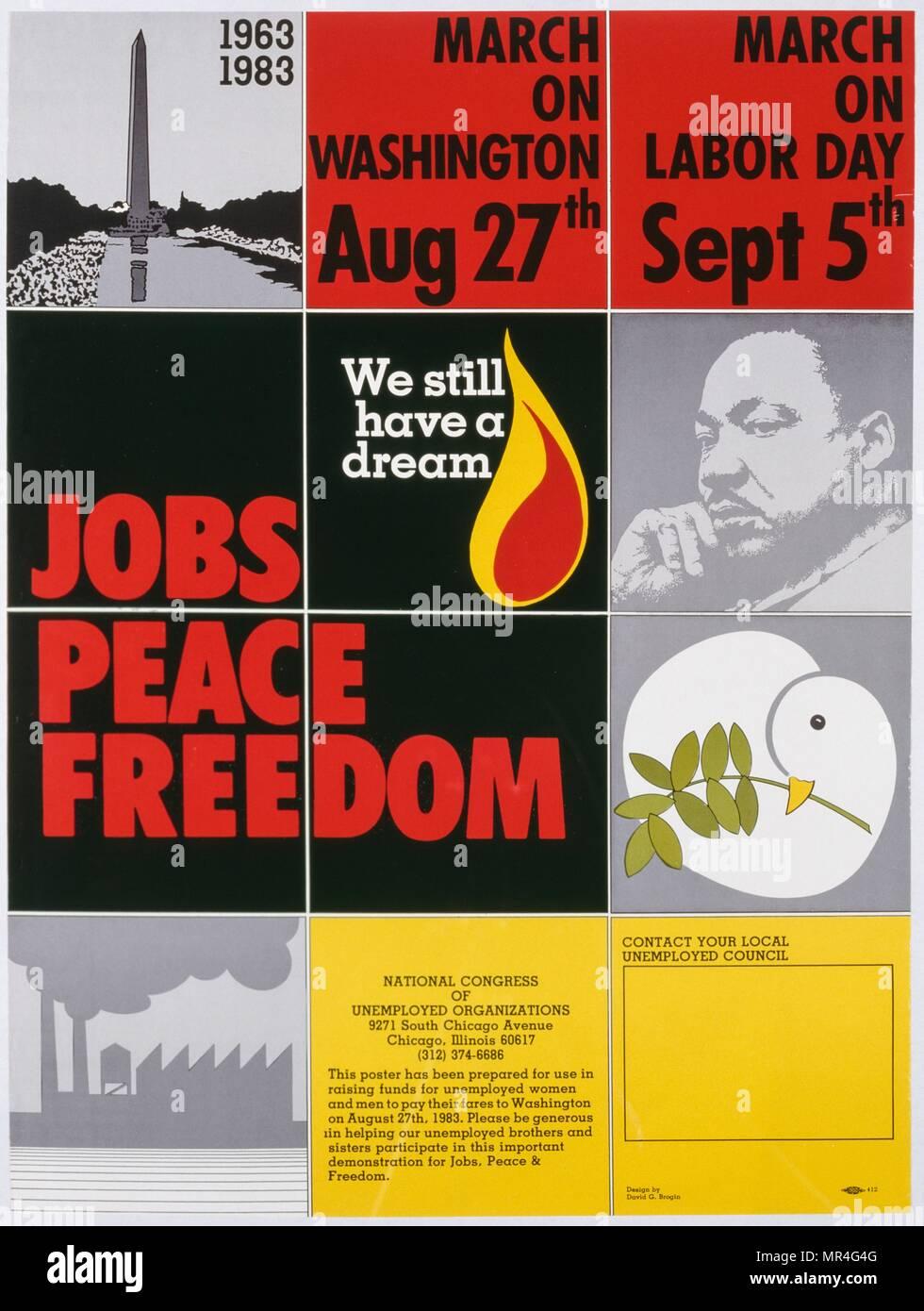 """American anti-guerra, anti-desempleo cartel en una marcha en Washington para 'Trabajos y Paz"""" de 1983. Publicado durante la guerra fría Imagen De Stock"""