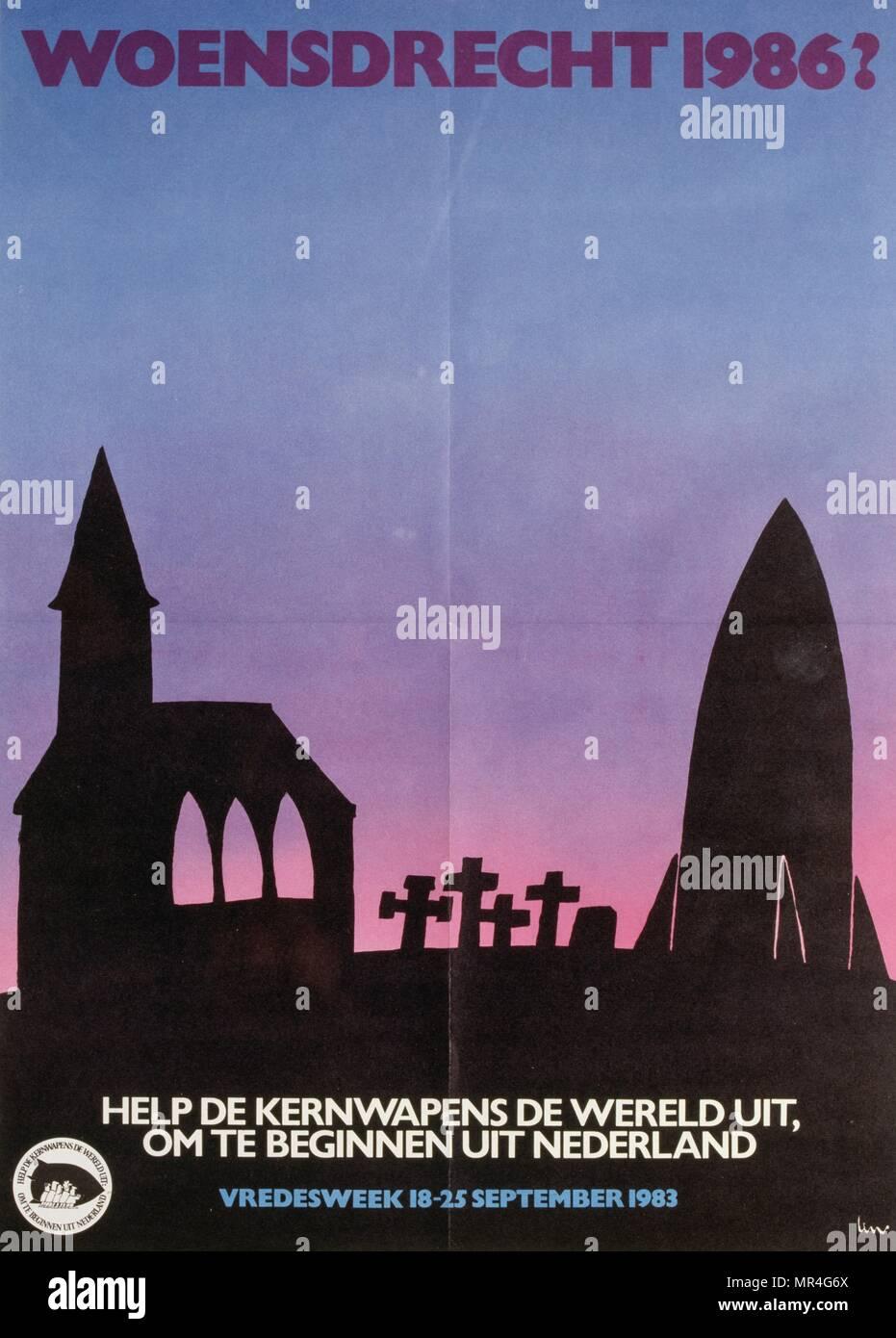 Holandés, anti-armas nucleares, contra la guerra, la paz, el póster de la campaña durante la guerra fría 1983 Imagen De Stock