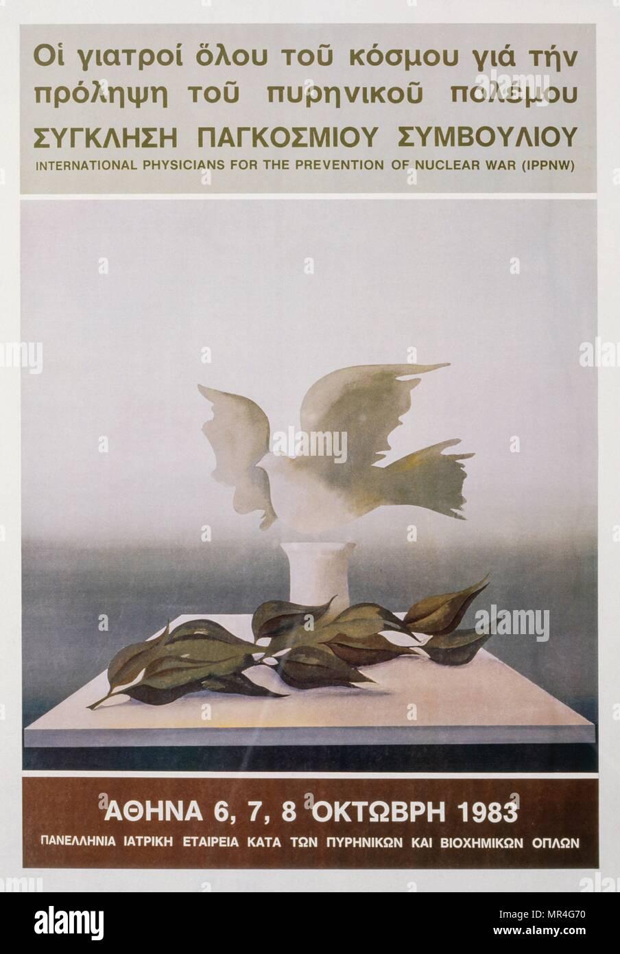 Griego, anti-armas nucleares, contra la guerra, la paz, el póster de la campaña durante la guerra fría 1983 Imagen De Stock