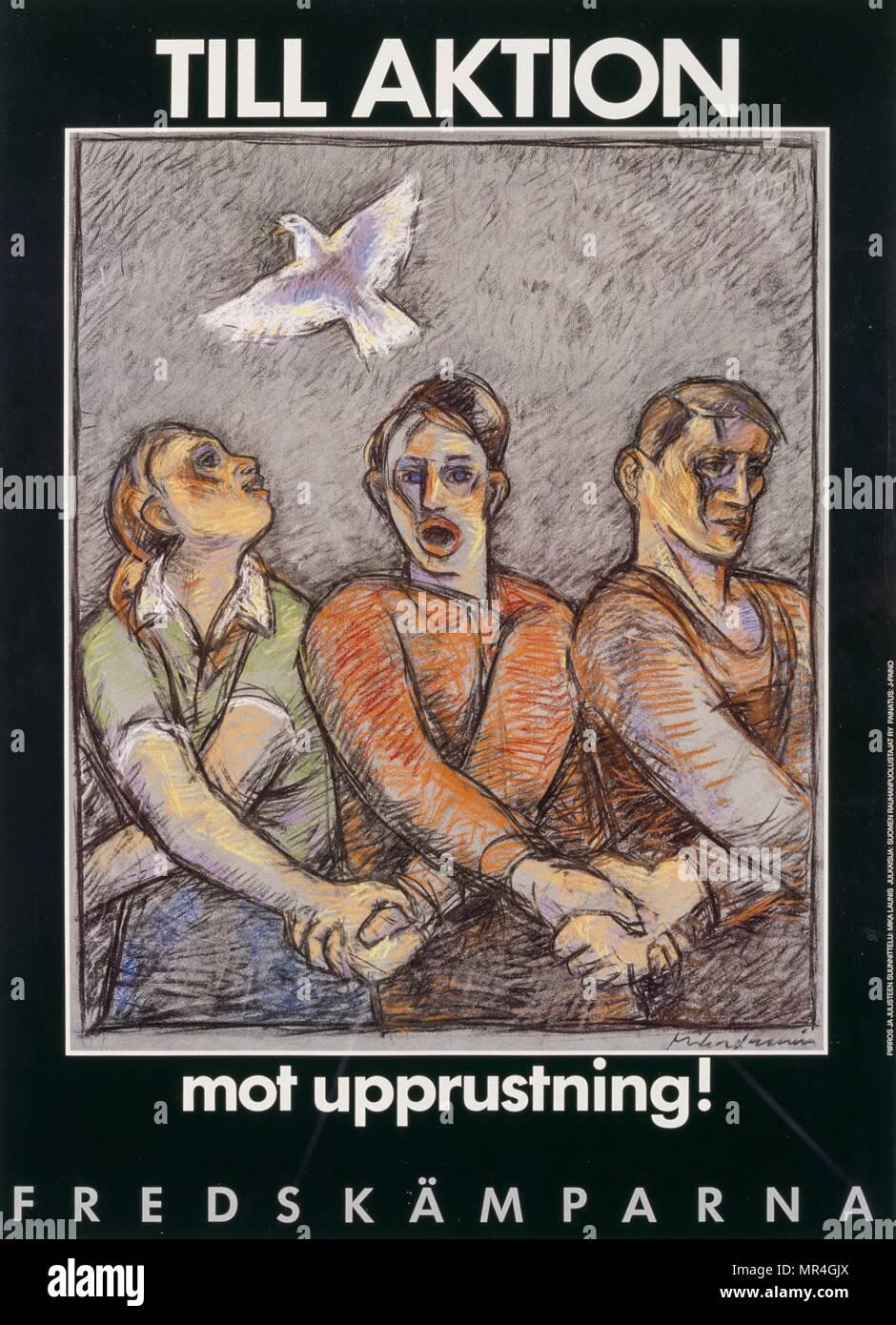 Para la acción contra la rehabilitación (hasta aktion mot upprustning)' sueco el póster de la campaña de paz (la guerra fría) 1975 Imagen De Stock