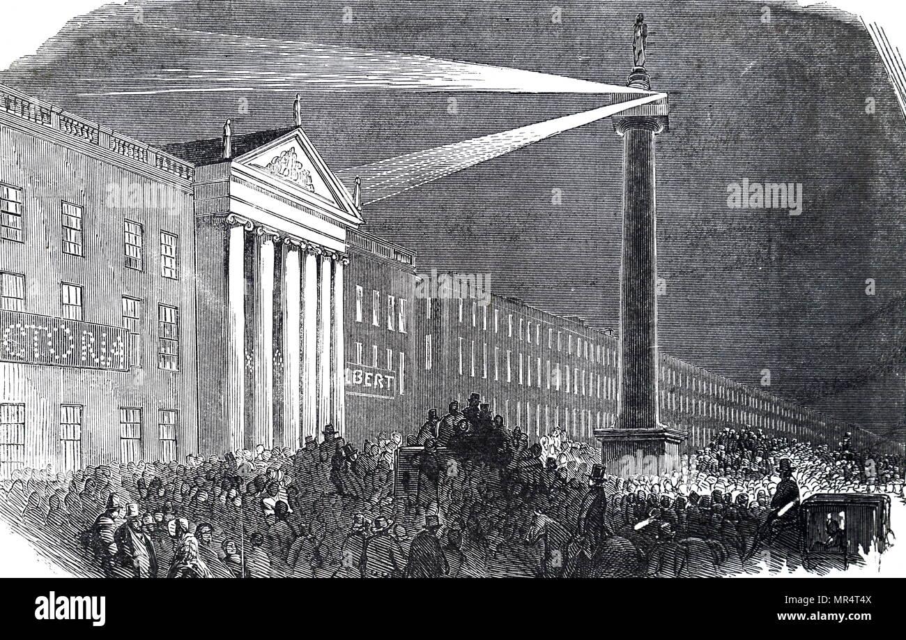 Grabado representando a la Reina Victoria de viaje a Irlanda en agosto de 1849. La reina Victoria del Reino Unido de Gran Bretaña e Irlanda (1819-1901). Fecha del siglo XIX Imagen De Stock