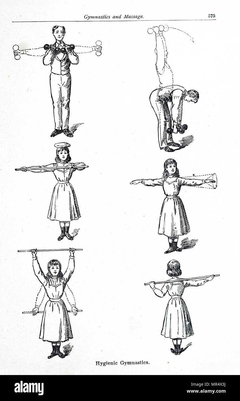 Ilustración mostrando los ejercicios para hombres y mujeres. Fecha siglo xx Imagen De Stock
