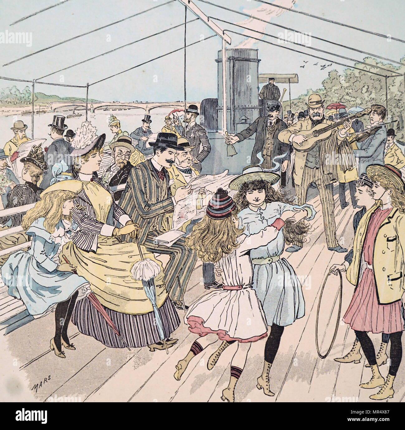Ilustración en color representando londinenses disfrutando de viaje junto a un río en París en un barco de recreo de vapor. Ilustrado por Marte (Maurice Bonvoisin) (1849-1912), un ilustrador francés. Fecha del siglo XIX Imagen De Stock
