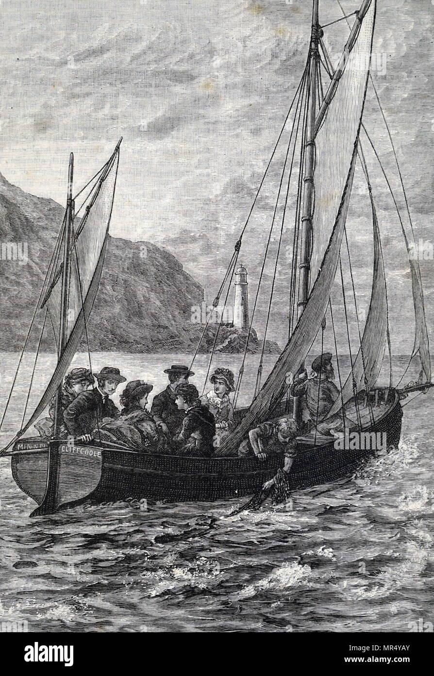 Ilustración mostrando los turistas tomando un viaje en barco. Fecha del siglo XIX Imagen De Stock