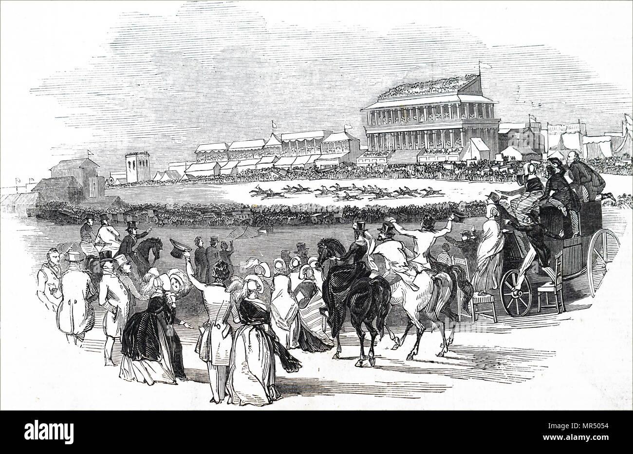 Ilustración representando a las carreras de caballos en el Hipódromo de Epson. Fecha del siglo XIX Imagen De Stock