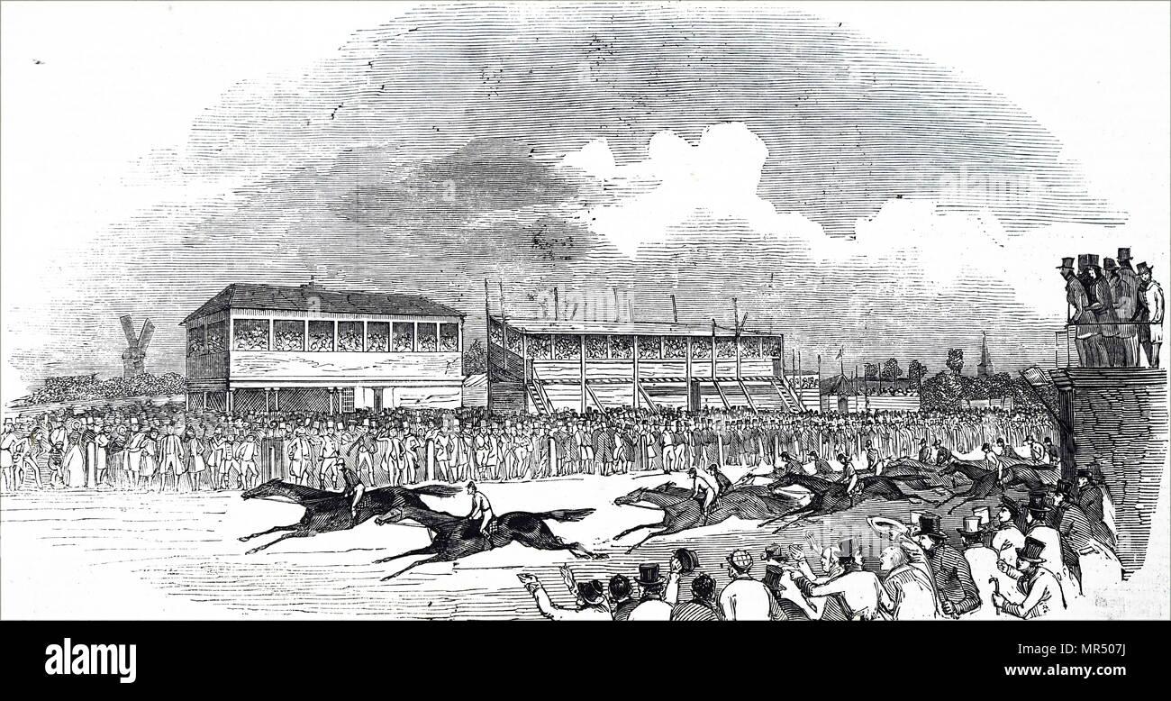 Ilustración mostrando un accidente en el hipódromo, un espacio abierto park está situado en el centro de la ciudad de Northampton. Fecha del siglo XIX Imagen De Stock