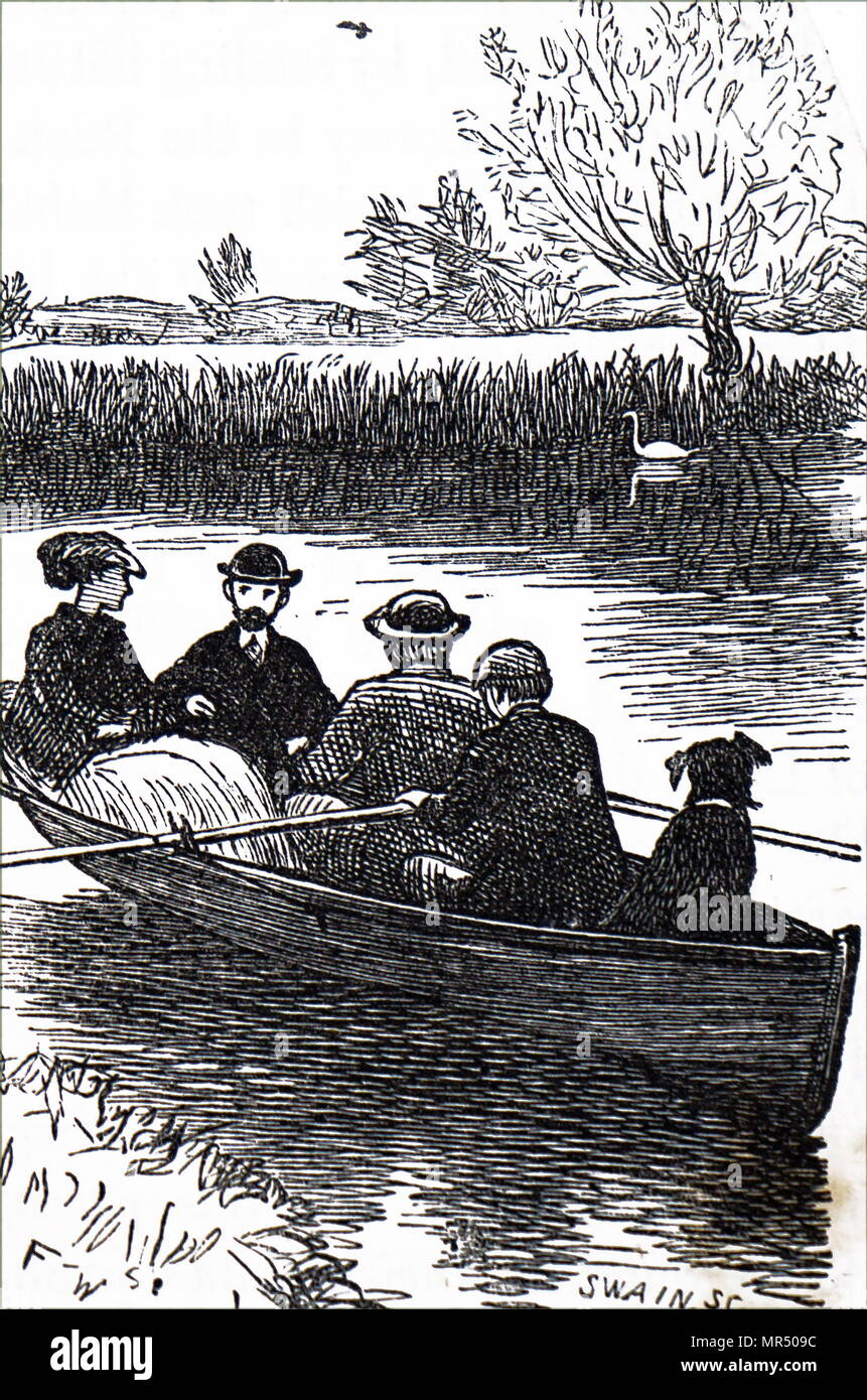Ilustración mostrando un viaje en bote que incluía el perro. Fecha del siglo XIX Imagen De Stock