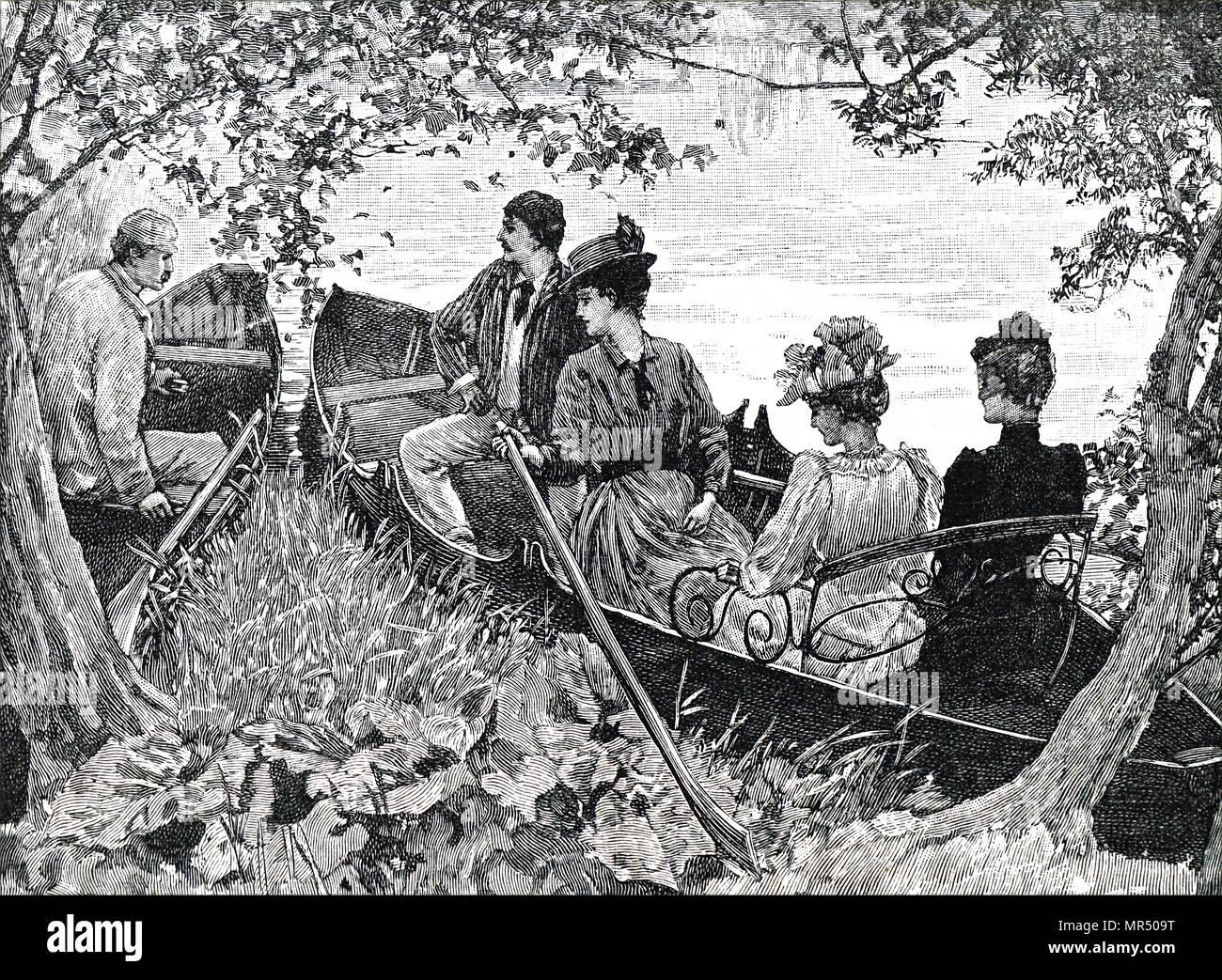 Ilustración que retrata a un grupo de jóvenes parejas que disfrutan de un viaje en bote. Fecha del siglo XIX Imagen De Stock