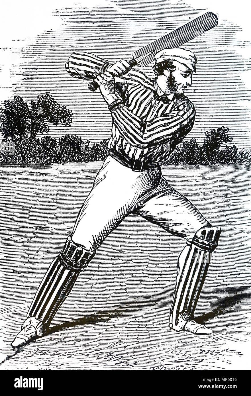 Caricatura de hombres jugando críquet. Fecha del siglo XIX Imagen De Stock