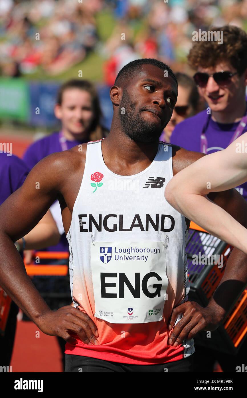 Loughborough, Inglaterra, 20th, Mayo, 2018. Richard Kilty compitiendo en los hombres 200M2018 theLIA durante el Encuentro Internacional de Atletismo de Loughborough. Imagen De Stock