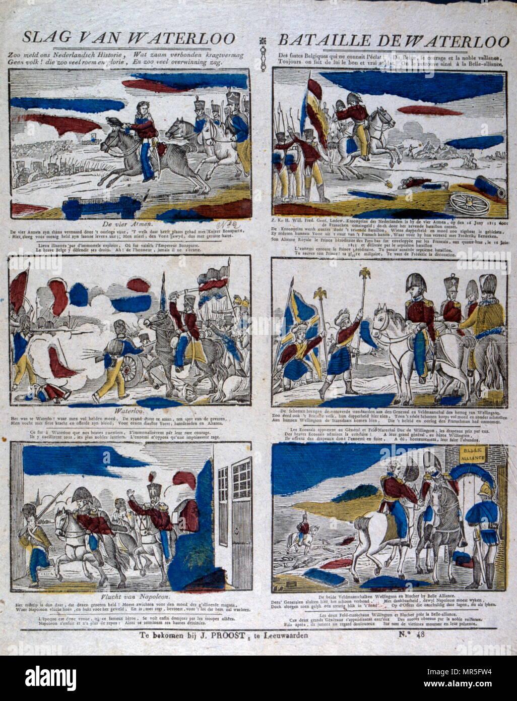 La batalla de Waterloo en 1815. Lengua flamenca y francesa serie de ilustraciones. Imagen De Stock