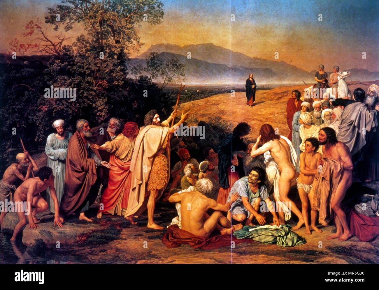 La aparición de Cristo ante el pueblo (la aparición del Mesías), 1857. óleo sobre lienzo, mide 540 cm × 750 cm, por el pintor ruso Alexander Andreyevich Ivanov (1806-1858) tardó 20 años en completarse (1837-1857). La narrativa de la pintura alude a varias historias de la Biblia. En el centro, Juan el Bautista, vestido con una piel de animal, está de pie a orillas del río Jordán. Él apunta hacia una figura en la distancia, acercándose a la escena. A la izquierda se encuentra el joven Juan el Apóstol San Pedro, detrás de él, y más adelante el Apóstol Andrés y Nathaniel. Imagen De Stock