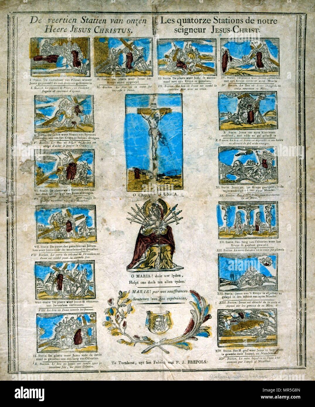 Francés Holandés del siglo XIX, la ilustración, mostrando las catorce estaciones de la cruz y el Cristo crucificado. Xilografía circa 1830 Imagen De Stock