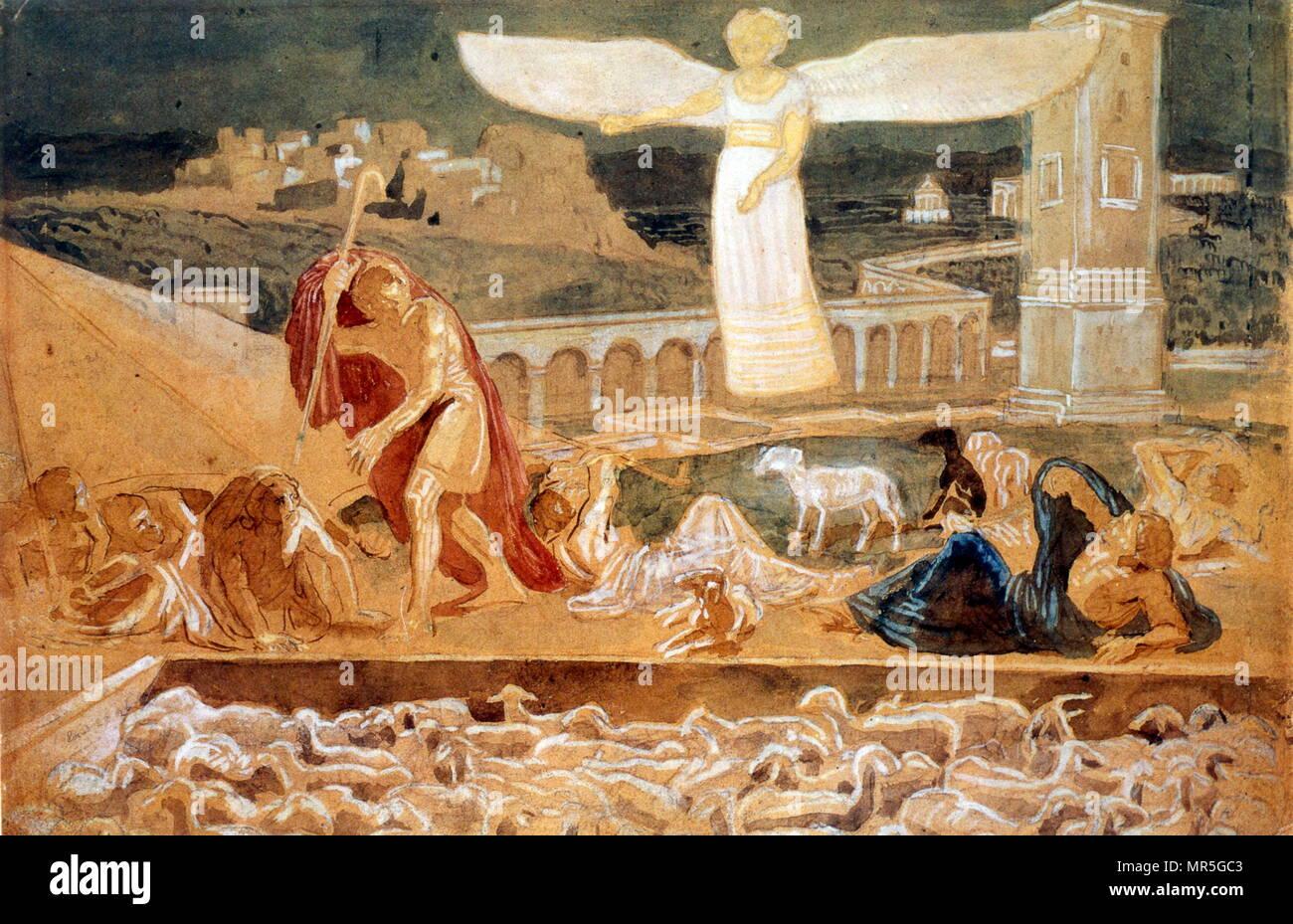 La aparición de un ángel anunciando el nacimiento de Cristo. pintura al óleo sobre lienzo por el pintor ruso Alexander Andreyevich Ivanov (1806-1858); . Imagen De Stock