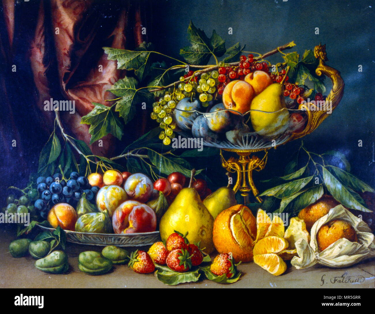 Francés del siglo XIX todavía la vida pintando. Circa 1870 Imagen De Stock