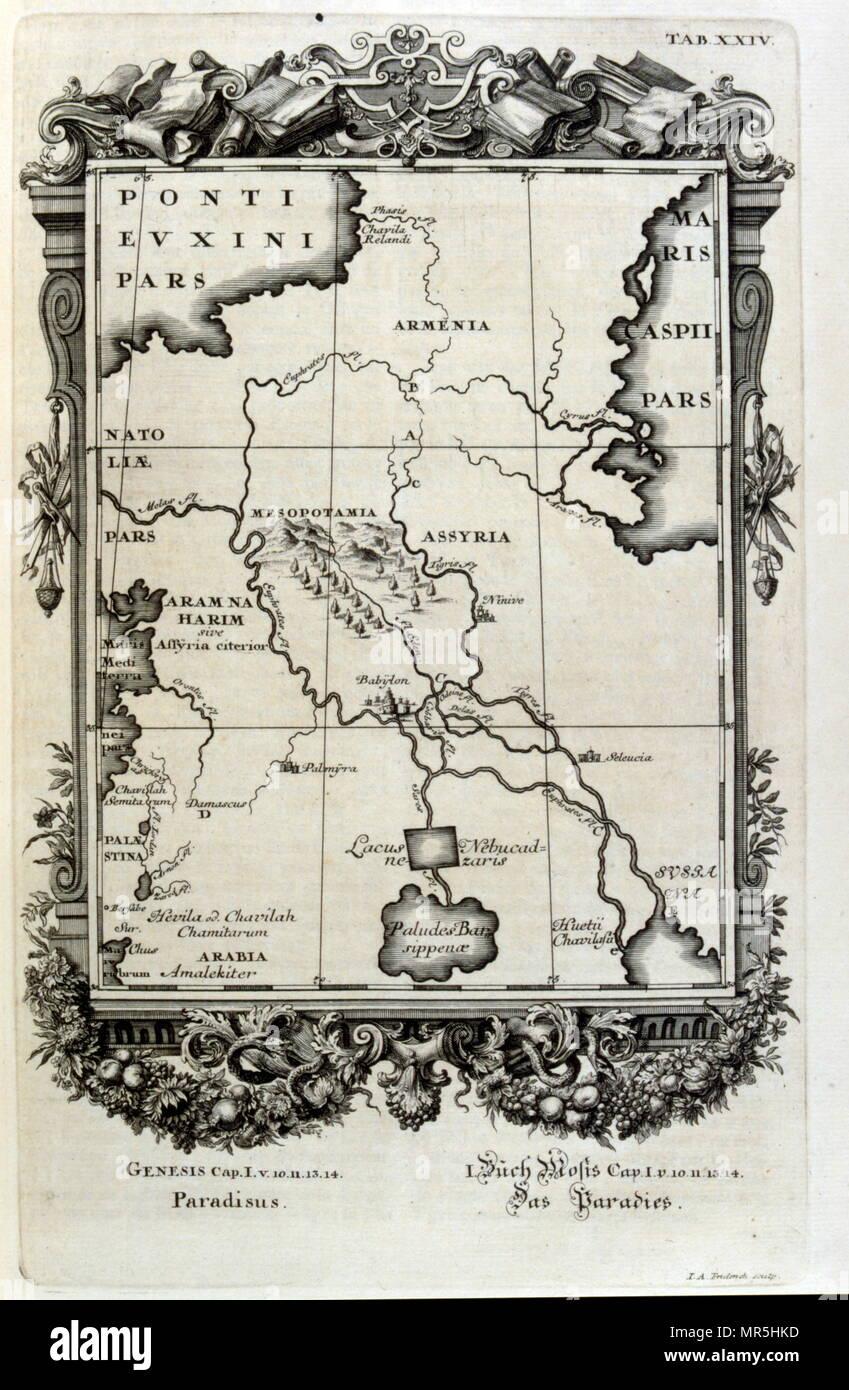 """Copperplate grabado de """"Physica Sacra' por el erudito suizo Johann Jakob Scheuchzer (1672 - 1733). Scheuchzer creía que el Antiguo Testamento era una representación objetiva de la historia humana y de la vida natural. Physica Sacra es una publicación de mamut. Es una compilación de arte, ciencia y espiritualidad en la cual Scheuchzer usa la Biblia como su punto de referencia para describir el mundo natural y sus procesos. Physica Sacra es también conocido como el Kupfer-Bibel que traduce a la """"Biblia"""" de cobre los bocetos fueron realizados por Johann Melchior Fussli y un número de grabadores trabajó en la compilación. Imagen De Stock"""