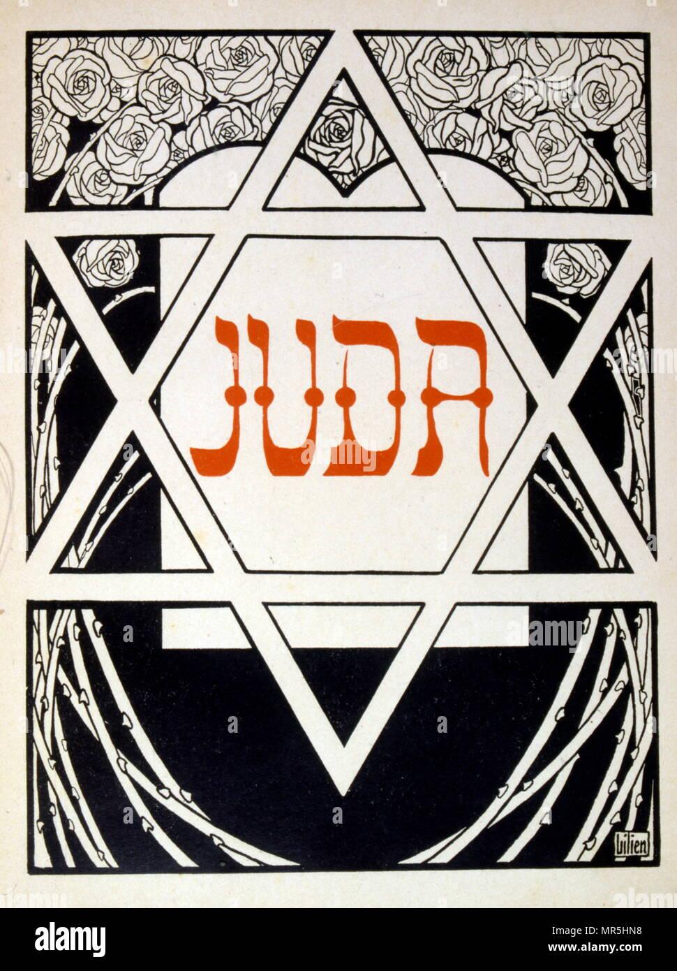 """Judá', una colección de baladas por el poeta no-Judía Börries von Münchhausen 1874 - 1945. Ilustrado por Efraín Moisés Lilien (1874-1925), ilustrador y grabador de estilo art nouveau, que destaca por su arte sobre temas judíos. Él es a veces llamado """"el primer artista sionista. La relación de Münchhausen al Judaísmo sigue siendo ambivalente: Munchhausen no consideran que la """"raza judía"""" inferior, sino que simplemente quería evitar una """"mezcla"""" con los judíos alemanes. Foto de stock"""