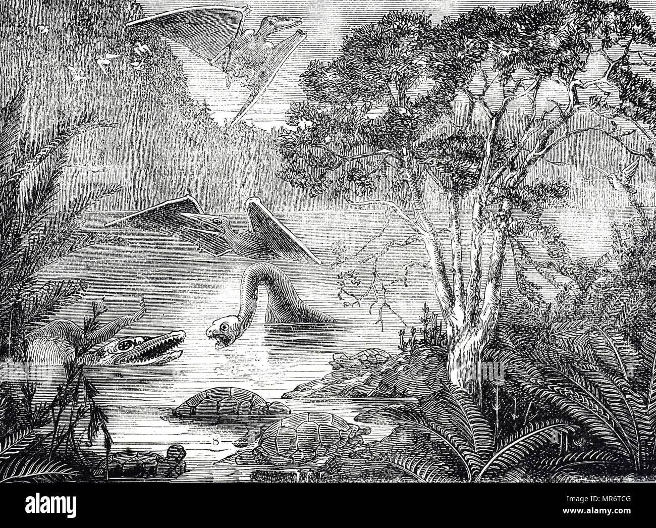 Grabado representando el ideal de la flora y la fauna del período Cretácico Superior. Fecha del siglo XIX Imagen De Stock