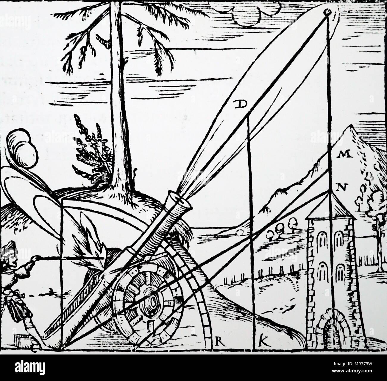 Ilustración del concepto Aristotélico de la trayectoria de un proyectil. Aristóteles (384 BC-322 BC) un antiguo filósofo y científico griego. Fecha del siglo XVI. Imagen De Stock