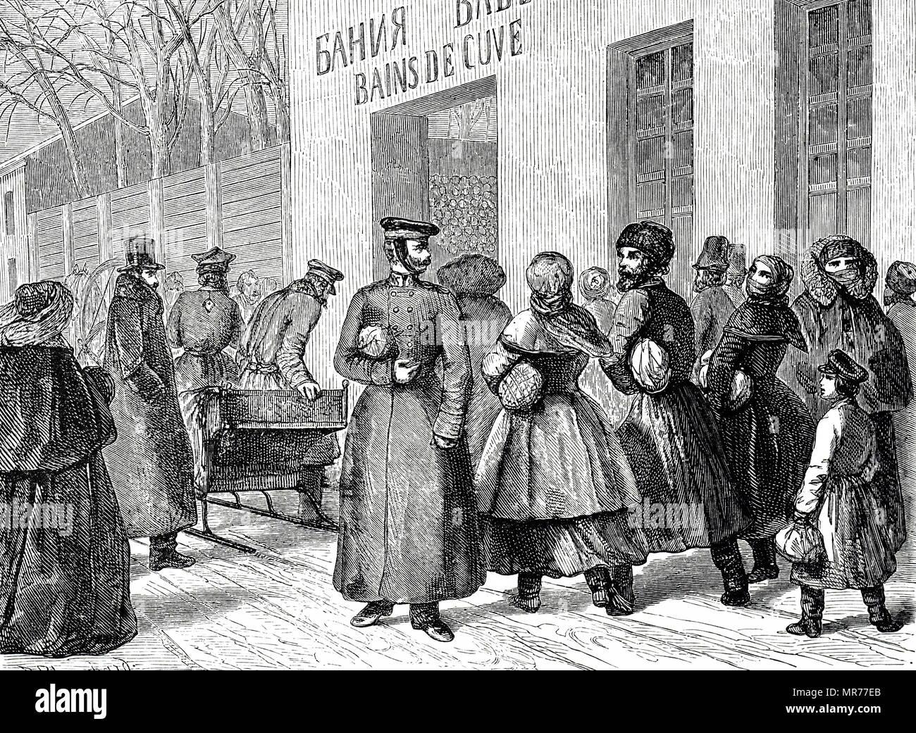 Grabado representando un sábado por la tarde fuera de los baños públicos de San Petersburgo. Fecha del siglo XIX Imagen De Stock