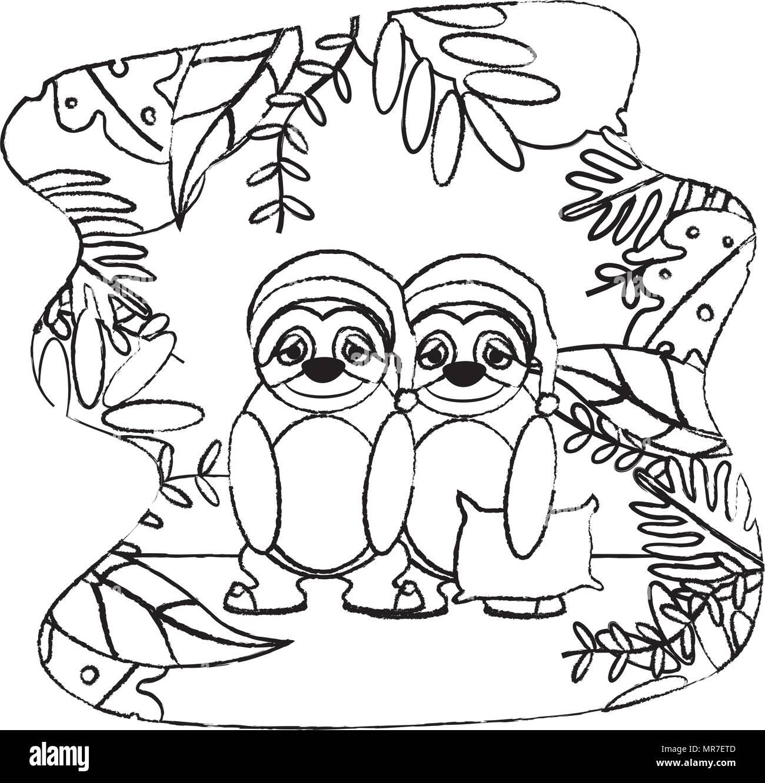 Grunge par sloth animal con almohada y hat Ilustración del Vector