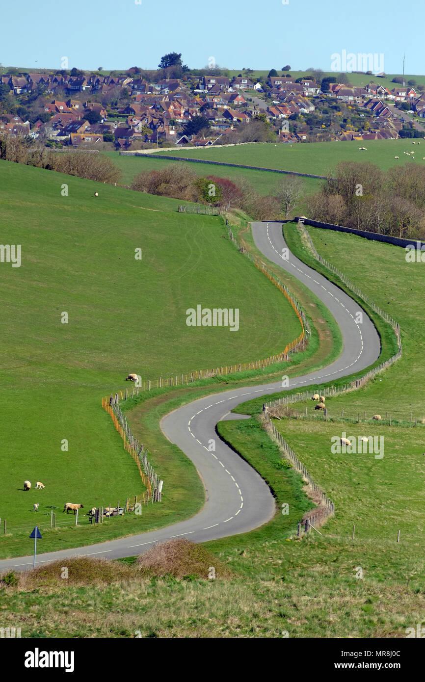 Camino sinuoso en los South Downs Oriente próximo Decano, East Sussex, Reino Unido. Foto de stock
