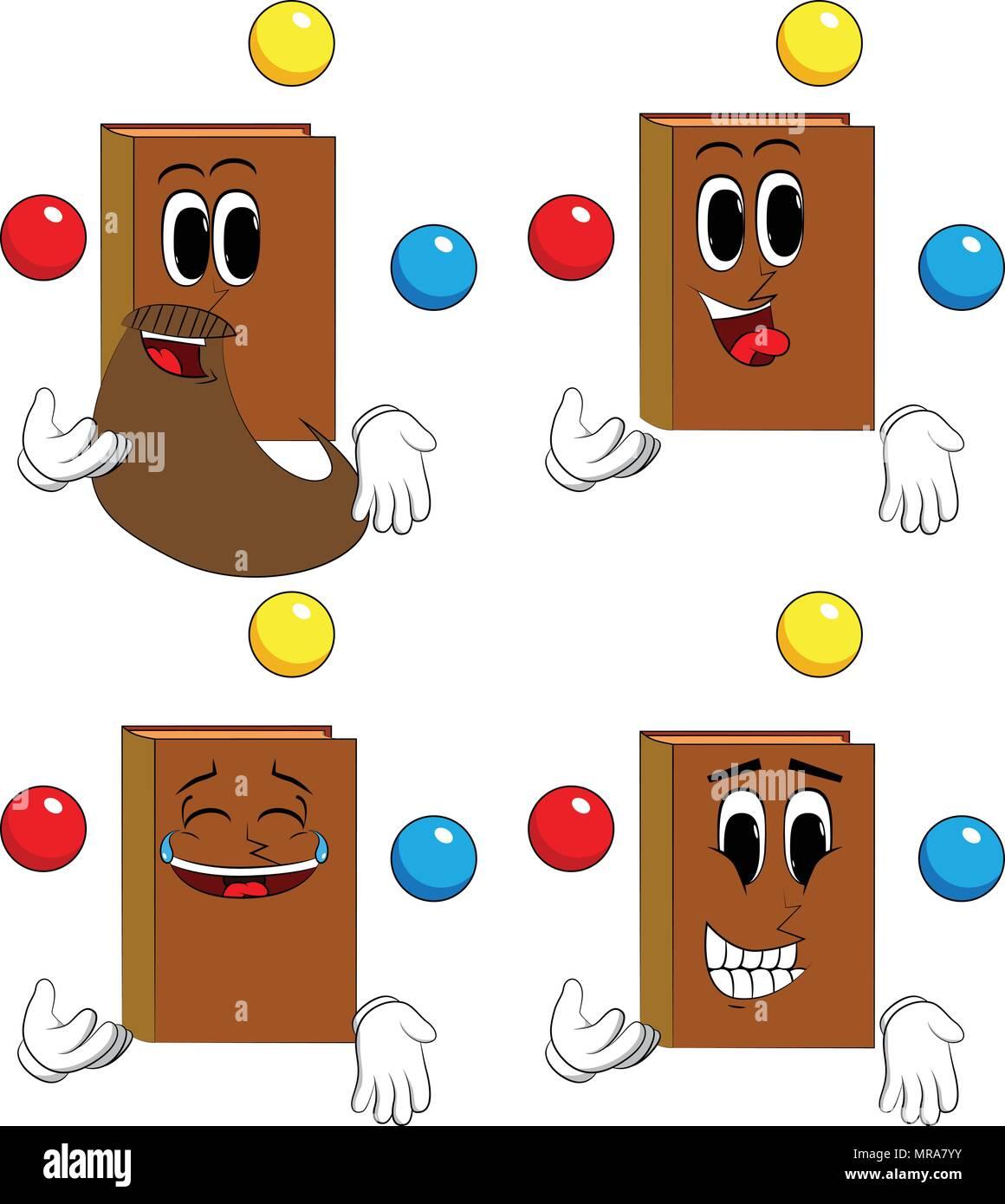 Libros malabarista. Colección de libros de dibujos animados con caras  felices. Vector de expresiones 39bcbfb285e3