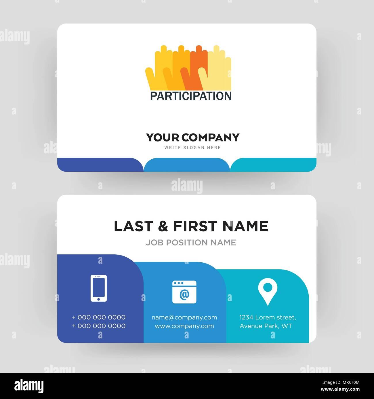 La participación, la plantilla de diseño de tarjeta de negocios ...
