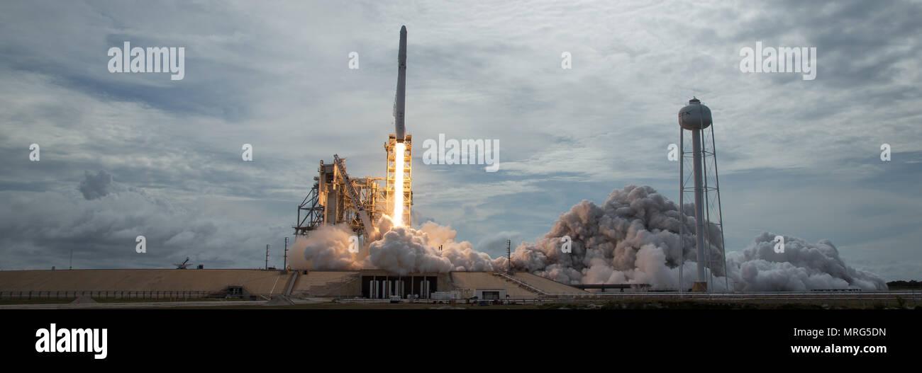 El cohete SpaceX Falcon 9, con el Dragón a bordo de la nave, lanza de pad 39A en el Centro Espacial Kennedy, de la NASA en Cabo Cañaveral, Florida, el sábado, 3 de junio de 2017. Dragon lleva casi 6.000 libras de la investigación científica y la tripulación de hardware y suministros para la Estación Espacial Internacional en apoyo de la expedición 52 y 53 miembros de la tripulación. El tronco no presurizadas de la nave espacial también transportará los paneles solares, herramientas para la observación de la tierra y material para el estudio de las estrellas de neutrones. Este fue el 100º lanzamiento y sexto lanzamiento SpaceX, desde este pad. Lanzamientos previos incluyen 11 vuelos Apolo, th Foto de stock