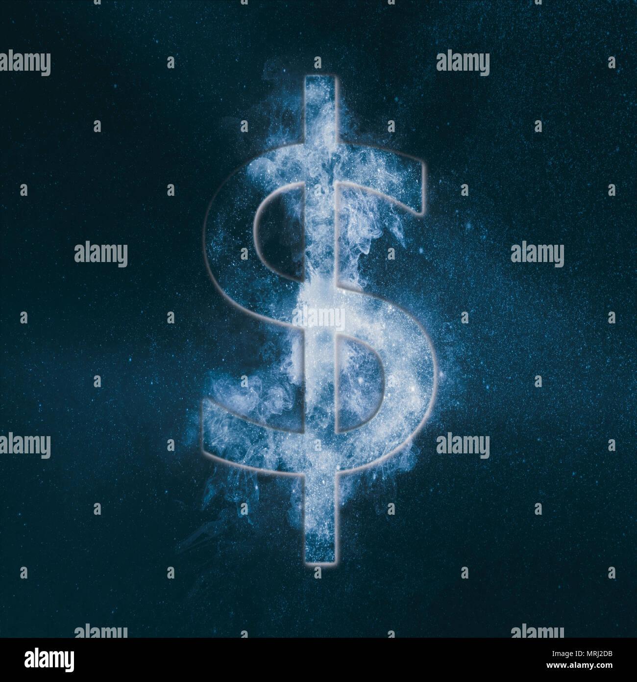 Signo de dólar, símbolo de dólar. Símbolo de moneda. Resumen de fondo del cielo nocturno. Imagen De Stock