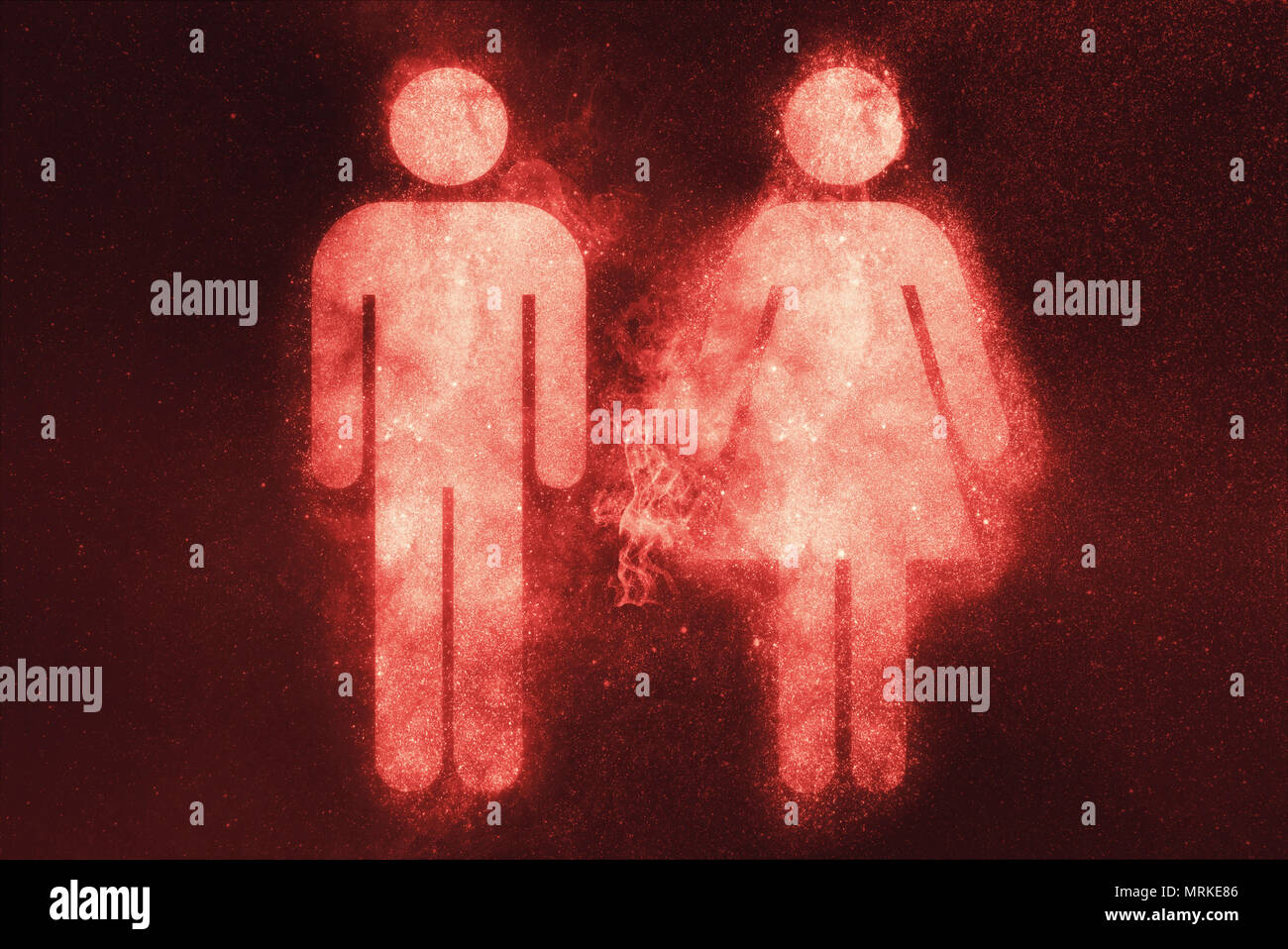 Símbolo masculino y femenino. Abstract fondo de cielo nocturno Imagen De Stock