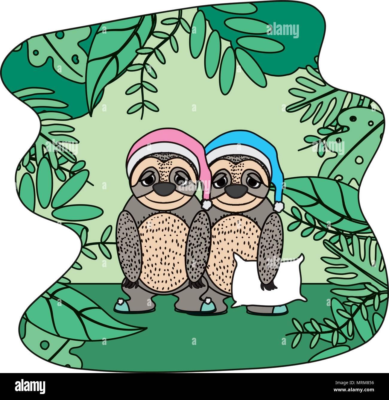 Pareja de color sloth animal con almohada y hat Ilustración del Vector