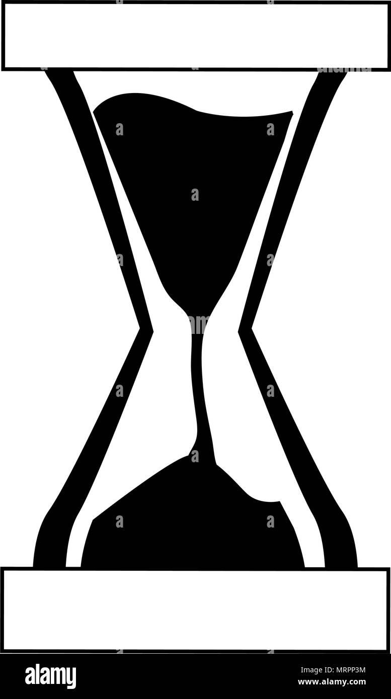 Reloj De Arena Arena Tiempo En Blanco Y Negro Ilustración Del Vector