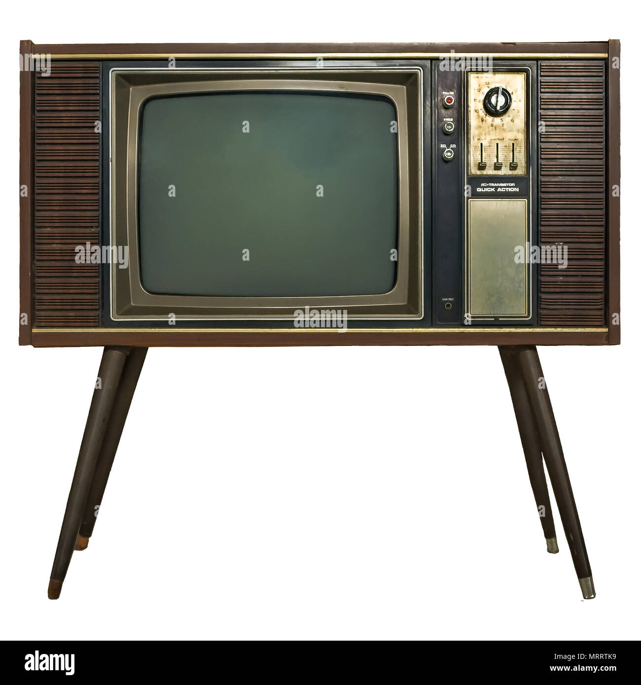 TV   Vintage Retro antiguo televisor en gabinete de madera sobre fondo  blanco aisladas con trazado 34a2deda3a26