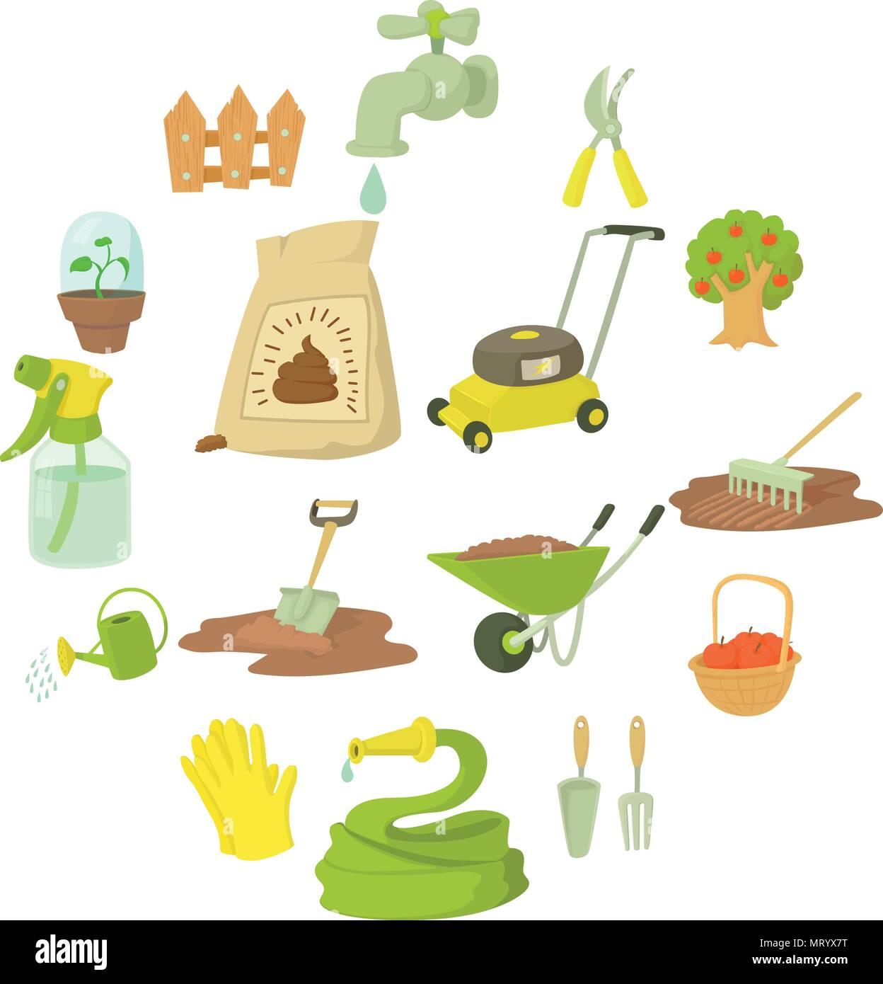 Iconos De Herramientas De Jardinero Estilo De Dibujos Animados