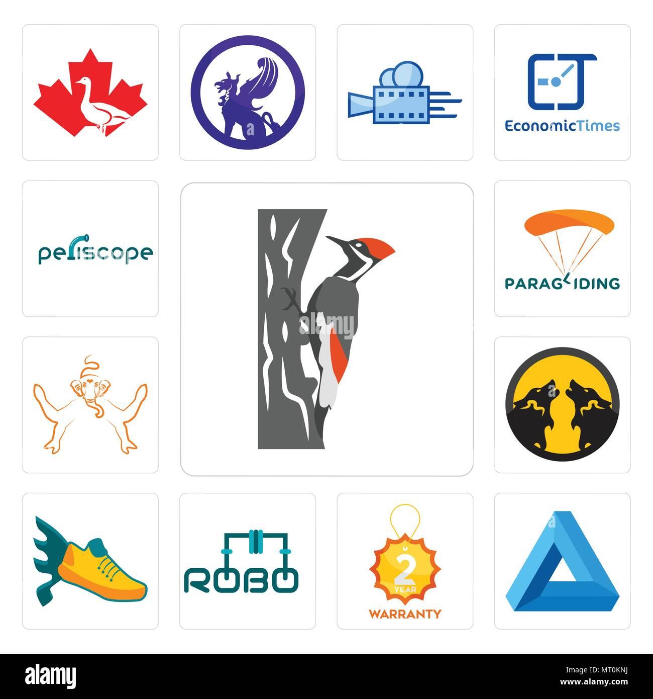 Conjunto de 13 iconos editables sencillos como el pájaro carpintero, el triángulo de Penrose, 2 año de garantía, robo, volando Zapata, pack Wolf, Ganesh, parapente, periscope ca Imagen De Stock