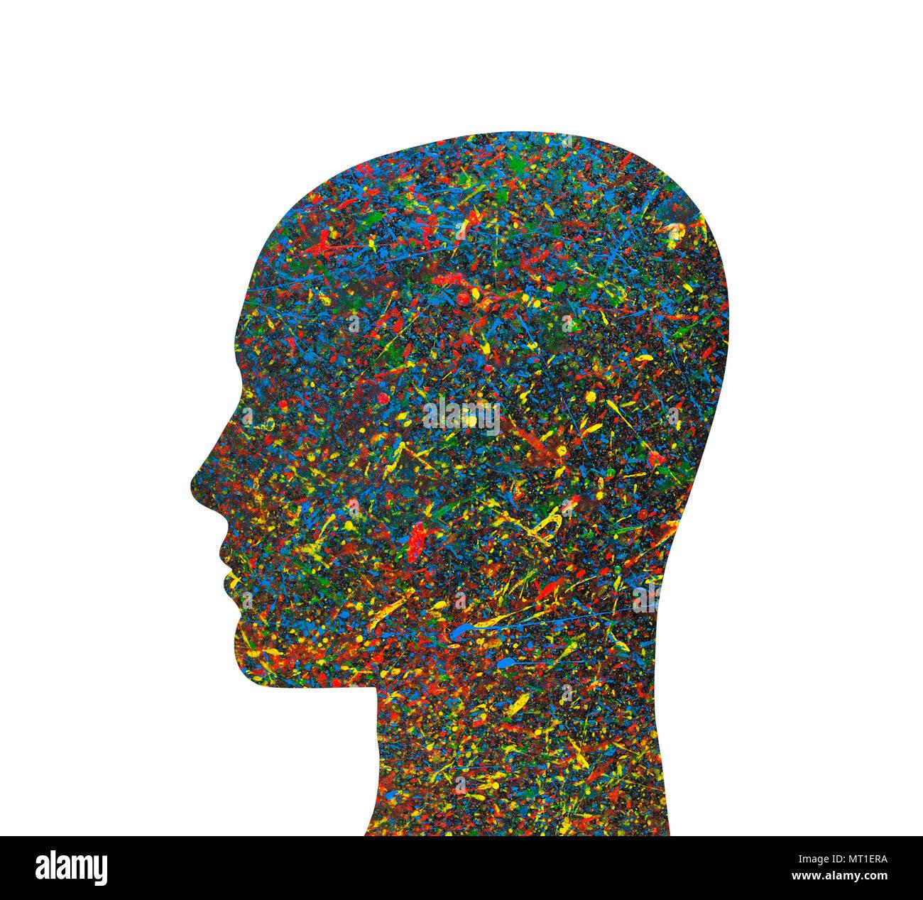 Cabeza humana silueta con coloridas salpicaduras de acuarela Imagen De Stock