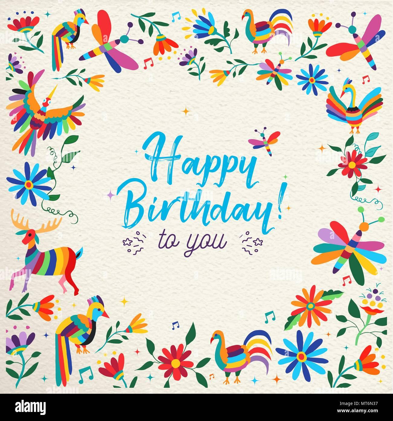 Feliz cumpleaños con un colorido diseño estilo otomí primavera de flores y animales en la textura del papel de fondo. Ideal para la invitación a una fiesta o tarjeta de felicitación. E Ilustración del Vector