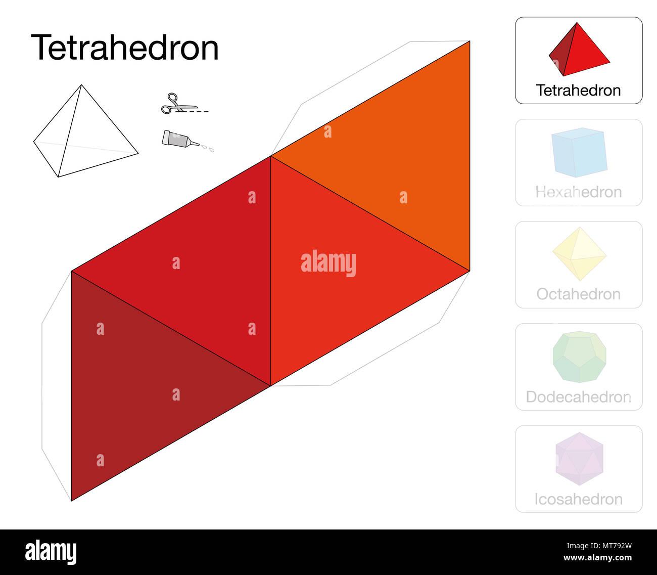 Sólidos Platónicos tetraedro plantilla. Modelo de papel de un ...