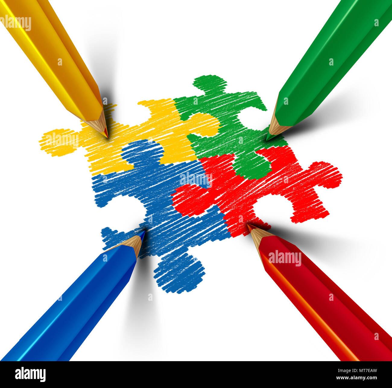 Concienciación del autismo trastorno del desarrollo puzzle niños símbolo como un símbolo autista como piezas de rompecabezas están dibujadas con lápiz de color. Imagen De Stock