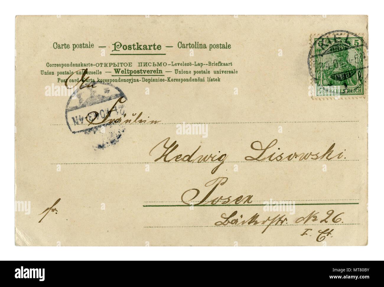 Parte posterior de la postal alemán histórico (MT80B7) carta escrita en tinta negra, con matasellos quilla, sello verde, 1904, Schleswig-Holstein, Alemania Foto de stock