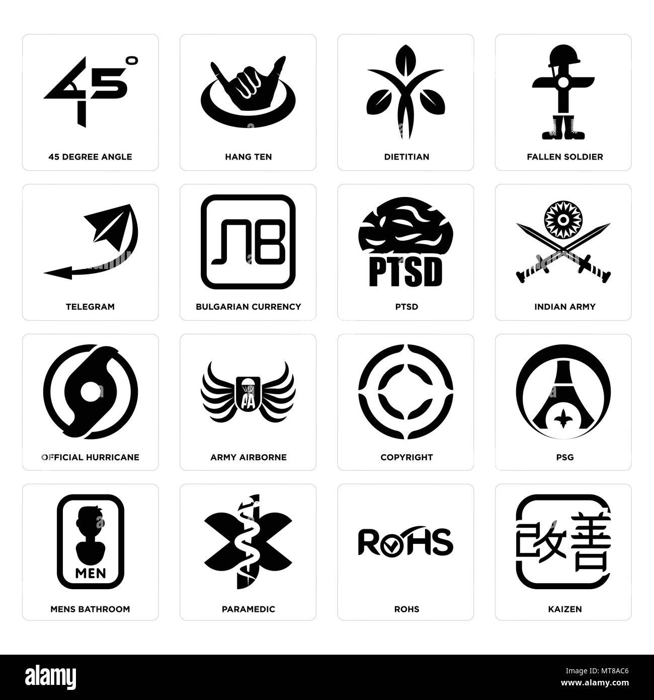 Conjunto de 16 sencillos iconos editables como kaizen, rohs