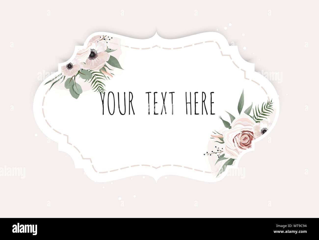 Conjunto De Vectores Etiquetas Vintage Con Flores Borde