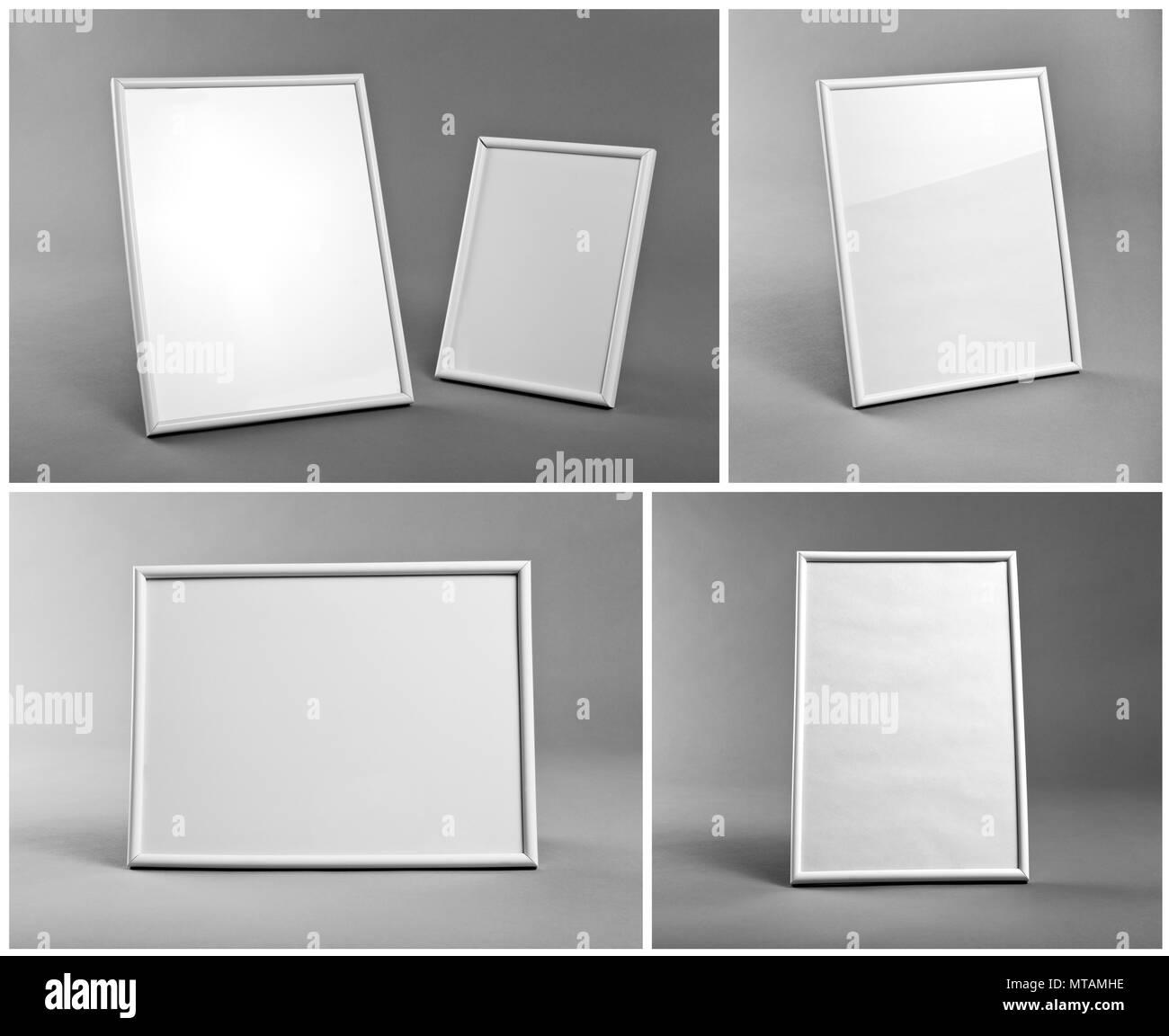 Conjunto de marcos blancos de pinturas o fotografías sobre fondo ...