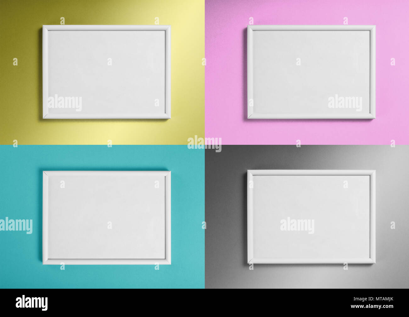 Conjunto de marcos blancos de pinturas o fotografías sobre distintos ...