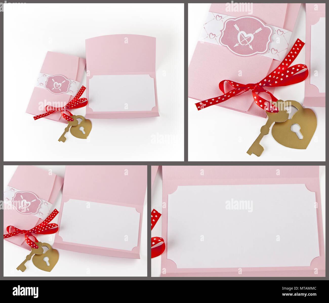Romántico Set De Diseño En Blanco Se Utiliza Para Postales