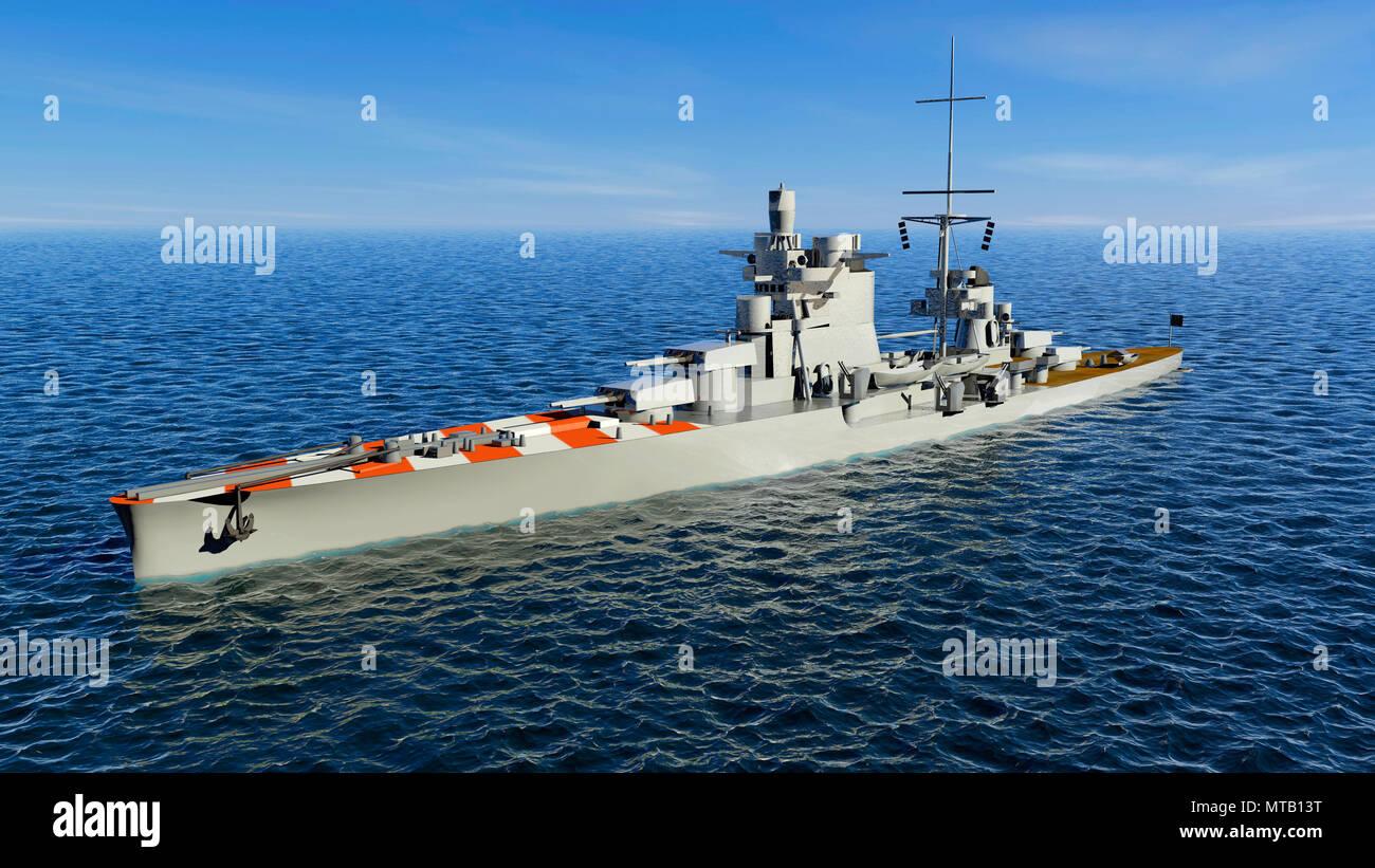 Pola fue una clase Zara HEAVY CRUISER italiano de la Regia Marina (Marina Real), buques de guerra, Cruiser, 3D rendering Foto de stock
