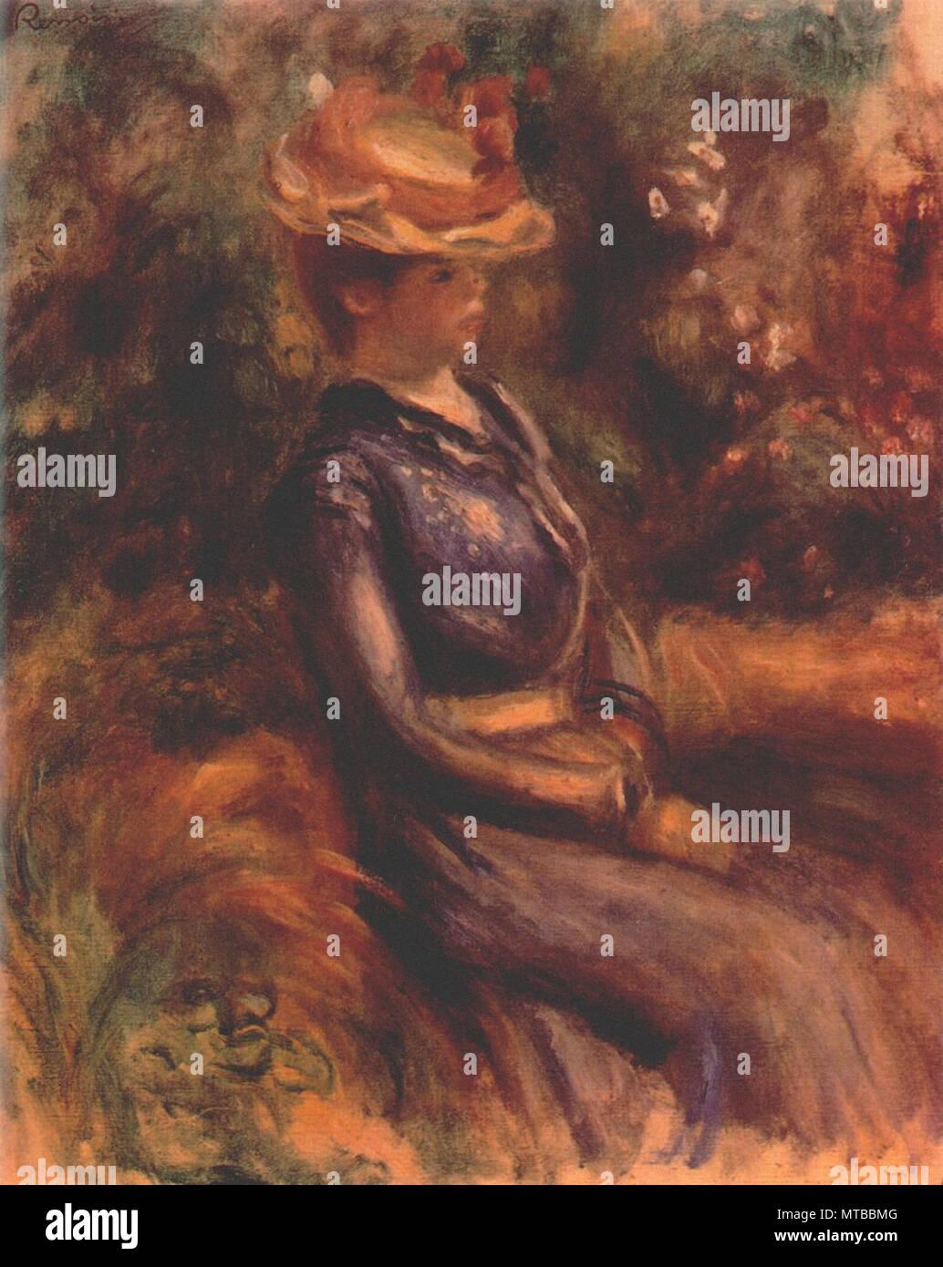Pierre-Auguste Renoir - chica que llevaba un sombrero de paja Foto ... 64c08fa47157