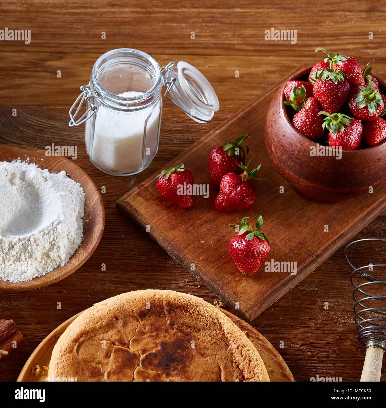 Receta De Tarta De Fresas Fresas Frescas Harina Y Azúcar