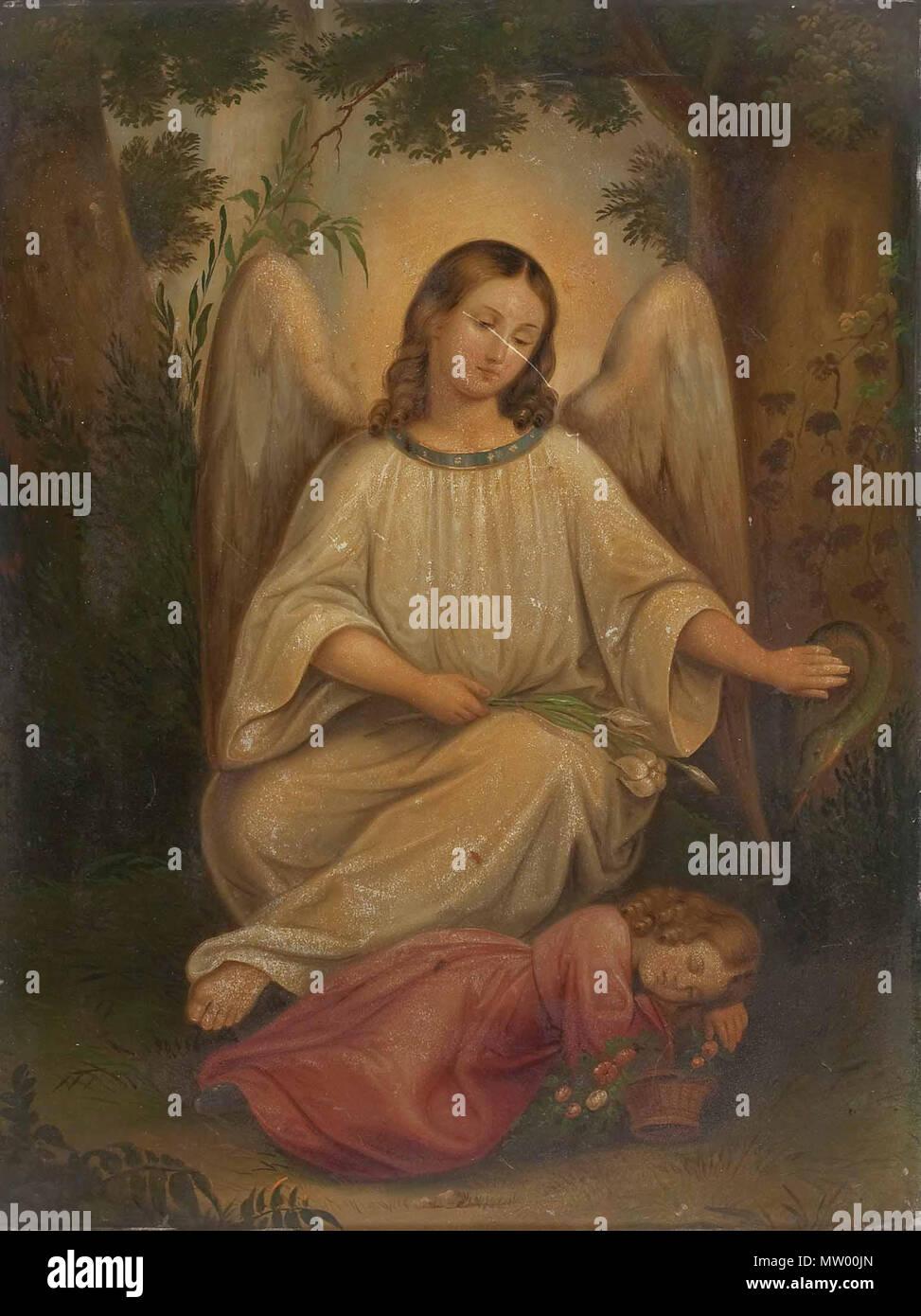 . Guardian Angel . Siglo xix. 547 Anónimo Schutzengel 19JH Imagen De Stock